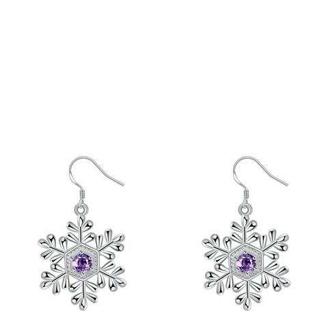 Ma Petite Amie Silver Plated/Purple Snowflake Earrings