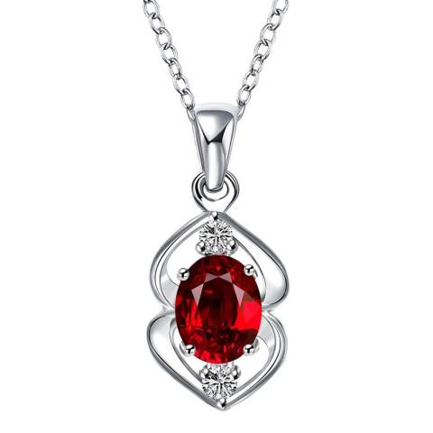 Ma Petite Amie Silver Plated/Red Pendant Necklace