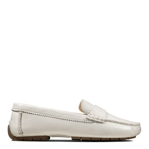 Clarks White Leather C Moccasin Loafers