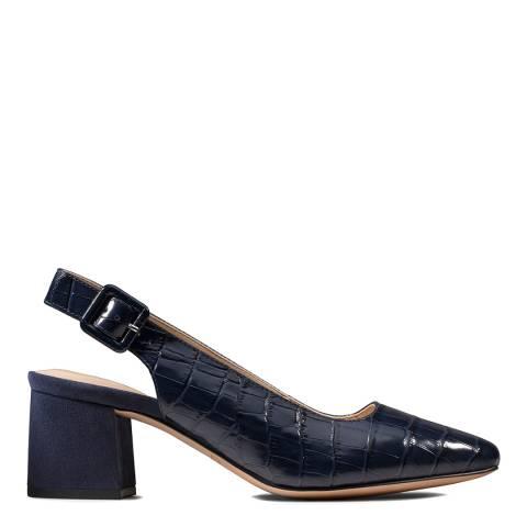 Clarks Navy Leather Sheer Violet Praline Court Pumps