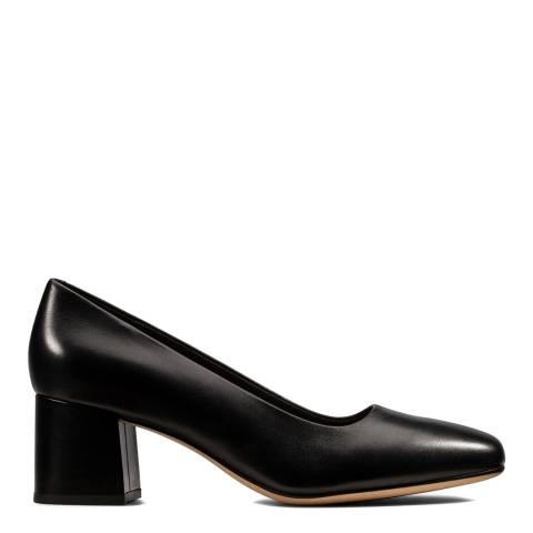 Clarks Black Leather Sheer Rose Court Shoes