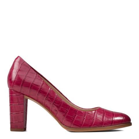 Clarks Pink Croc Kaylin Cara Pink Court Shoes