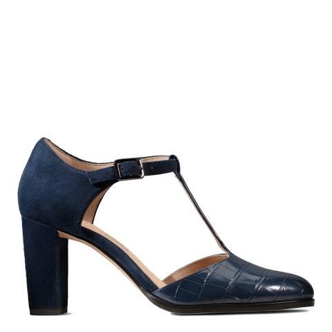 Clarks Navy Croc Kaylin T Bar Court Shoes