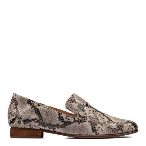 Clarks Grey Snake Pure Viola Trim Loafers