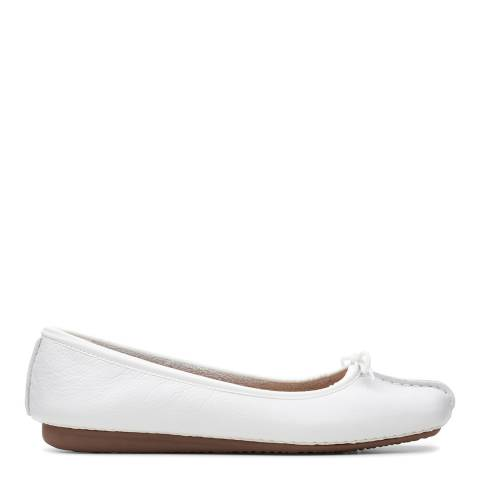 Clarks White Leather Freckle Ice Ballet Pumps