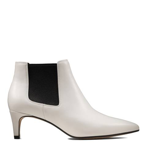 Clarks White Leather Laina 55 Ankle Boots