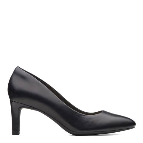 Clarks Black Leather Calla Rose Court Shoes
