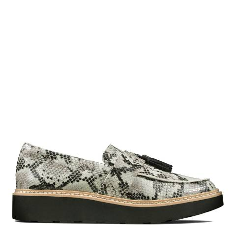 Clarks Grey Snake Leather Trace Tassel Loafers