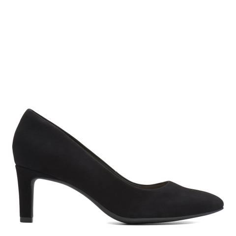 Clarks Black Suede Calla Rose Court Shoes