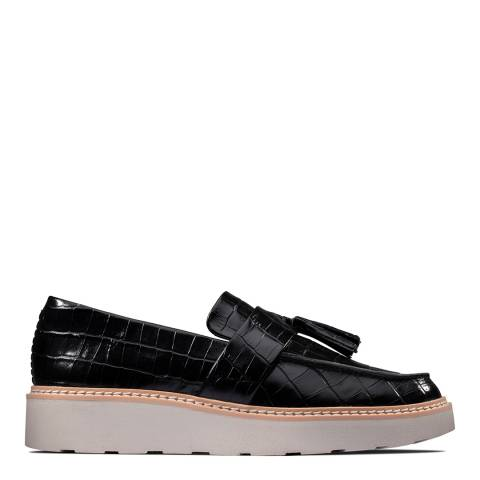 Clarks Black Croc Leather Trace Tassel Loafers