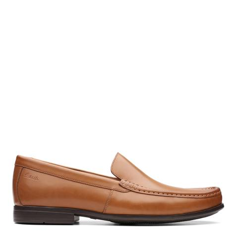 Clarks Tan Leather Claude Plain Loafers