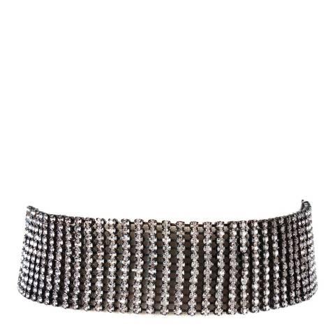 Amrita Singh Gunmetal/Clear Embellished Choker Necklace