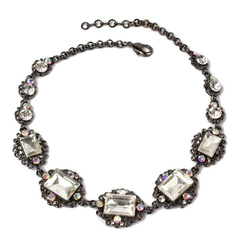 Amrita Singh Gunmetal/Clear Embellished Choker Necklace