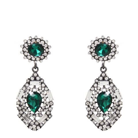 Amrita Singh Emerald/Gunmetal Teardrop Earrings