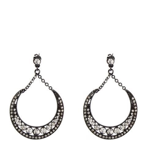 Amrita Singh Gunmetal/Clear Teardrop Earrings