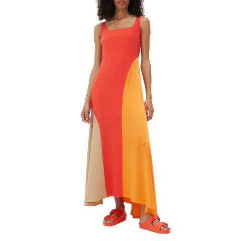Chinti and Parker Vermillion Flash Square Neck Silk Dress