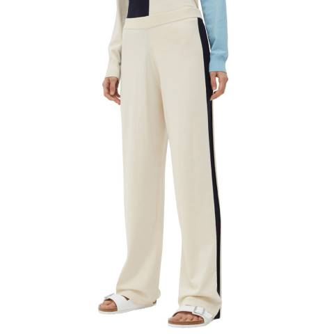 Chinti and Parker Cream Wide Leg Cotton Trousers