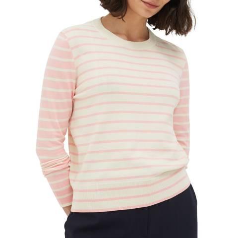 Chinti and Parker Cream/Rose Contrast Stripe Cotton Jumper