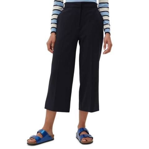 Chinti and Parker Navy Cropped Wool Blend Trouser