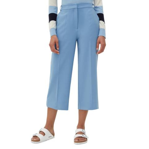 Chinti and Parker Sky Blue Cropped Wool Blend Trousers