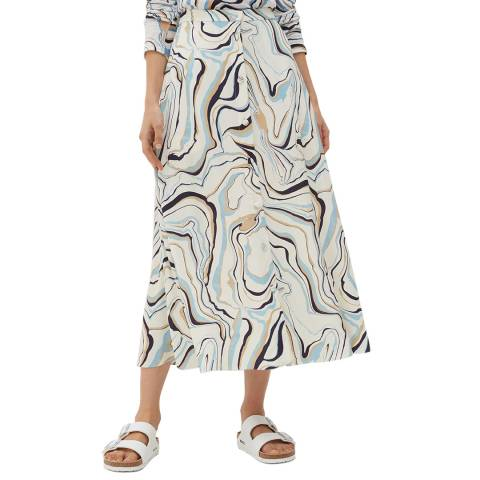 Chinti and Parker Ivory/Multi Marble Skirt
