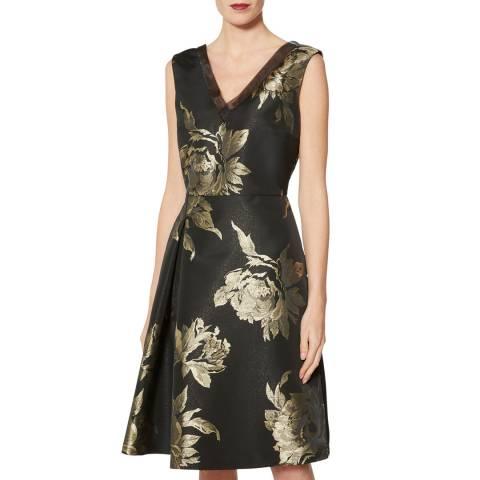 Gina Bacconi Black/Gold Jackie Flower Jacquard Dress