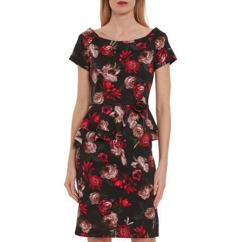 Gina Bacconi Black/Red Glorielle Floral Scuba Dress