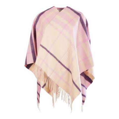 Edinburgh Cashmere Pink Ashley Picnic Check Cashmere Mini Cape