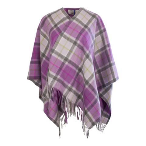 Edinburgh Cashmere Light Purple Check Cashmere Mini Cape