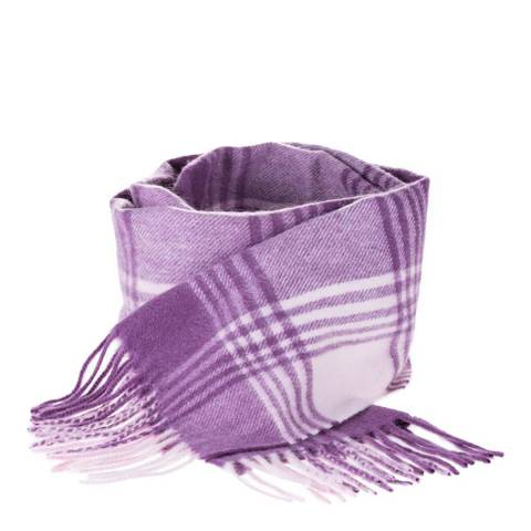 Edinburgh Cashmere Lavender Pink Broken Check Cashmere Scarf