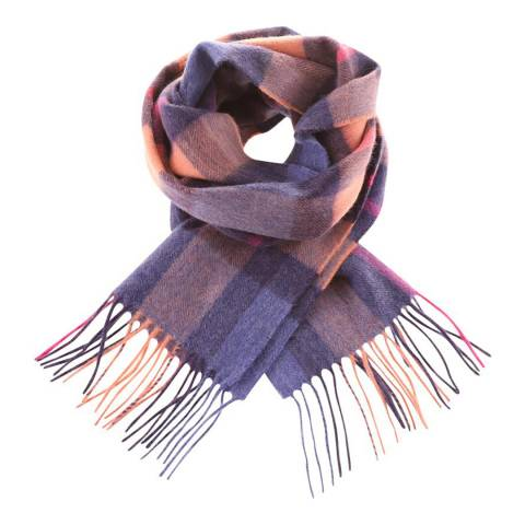Edinburgh Cashmere Denim OrangeCentre Square Check Cashmere Scarf