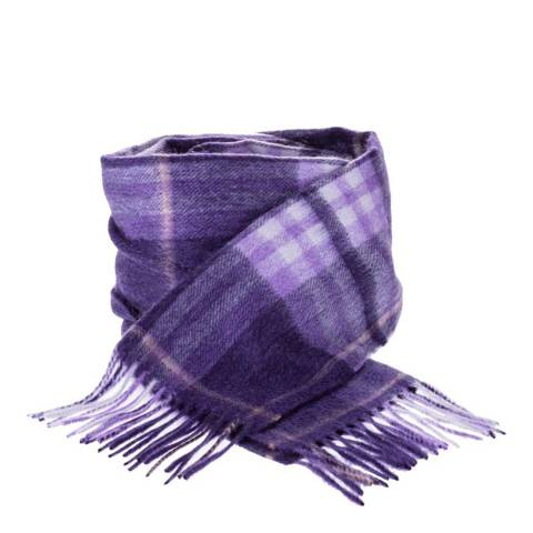 Edinburgh Cashmere Purple Highlight Check Cashmere Scarf