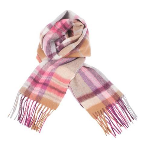 Edinburgh Cashmere Pink Bronze Molton Check Cashmere Scarf
