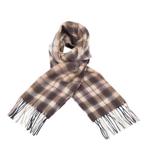 Edinburgh Cashmere Black Brown Winter Check Cashmere Scarf