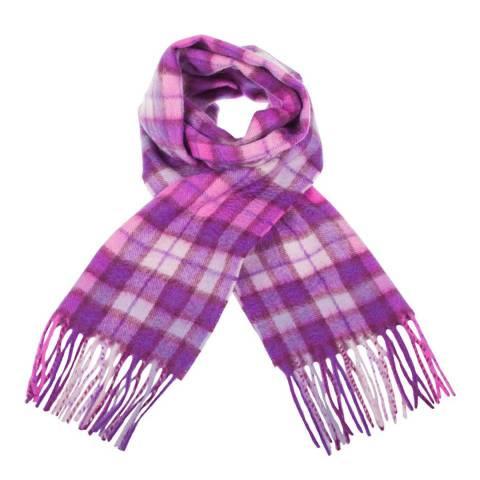 Edinburgh Cashmere Purple Pink Winter Check Cashmere Scarf