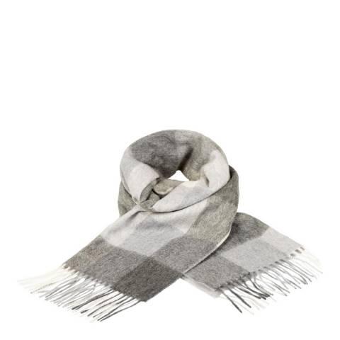 Edinburgh Cashmere Grey 5 Square Check Cashmere Wide Scarf