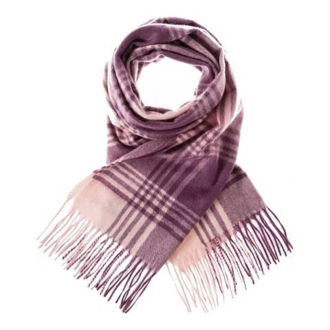 Edinburgh Cashmere Lavender Pink Broken Check Cashmere Wide Scarf