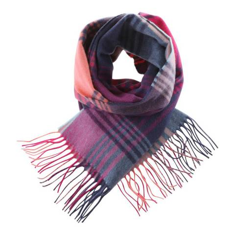Edinburgh Cashmere Multi Broken Check Cashmere Wide Scarf
