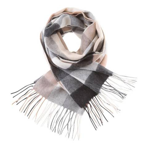 Edinburgh Cashmere Giant Chequer Natural Cashmere Wide Scarf
