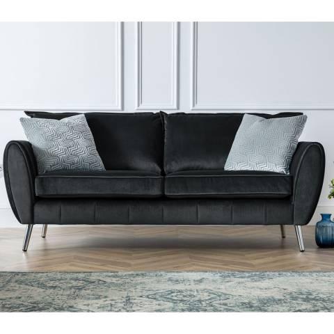 The Great Sofa Company Black Milano 3 Seater Sofa
