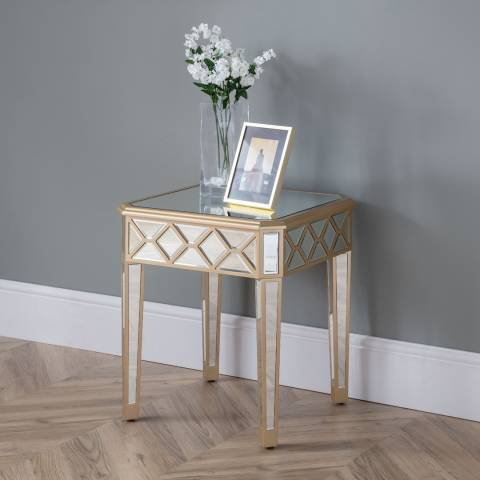 The Great Cabinet Company Elegance Gold Mirror Lamp Table