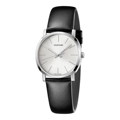 Calvin Klein Black Silver Posh Leather Watch 32mm