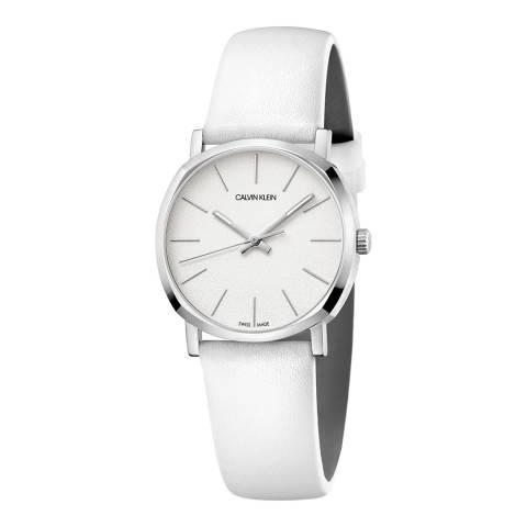 Calvin Klein White Posh Leather Watch 32mm