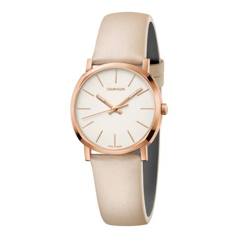 Calvin Klein Muted Gold Posh Leather Watch 32mm