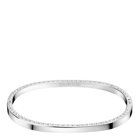 Calvin Klein Silver Crystal Hook Closed Bangle S