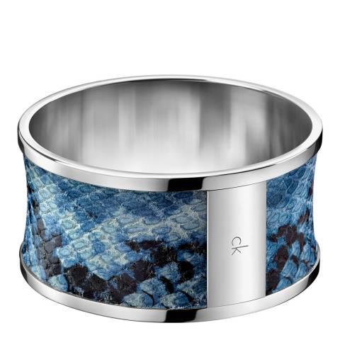 Calvin Klein Silver Blue Snake Spellbound Round Bangle
