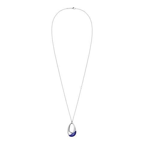 Calvin Klein Silver Blue Ellipse Long Pendant Necklace