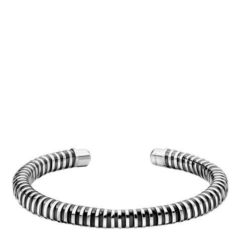 Calvin Klein Black Silver Open Spring Cuff Bracelet S