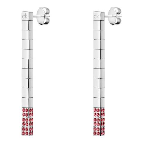 Calvin Klein Silver Pink Swarovski Tune Earrings