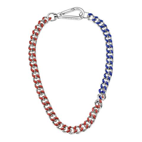 Calvin Klein Red Blue Thick CKJ Short Necklace